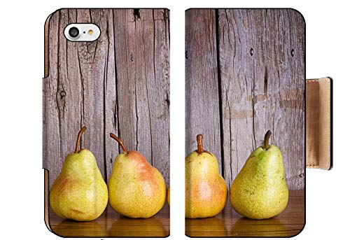 Liili Premium Apple iPhone 8 Flip Pu Wallet Case Pears Lined up in a Row on a Rustic Wooden Background Photo 19707812