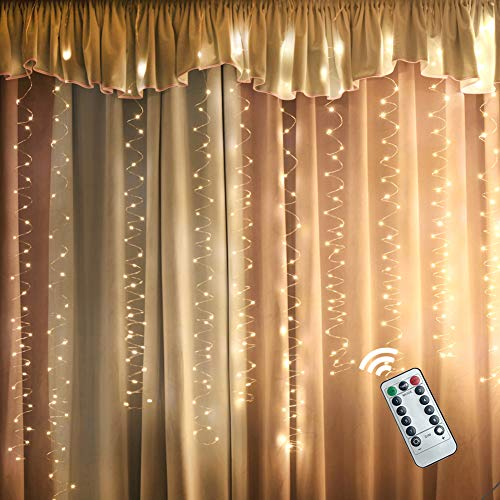Copper Curtain - BJYHIYH Copper Curtain Lights 9.8ftx9.8ft 300 LED Window Curtain String Lights USB Powered 8 Modes Light Curtain with Remote for Bedroom Christmas Wedding Party Garden(Warm White)