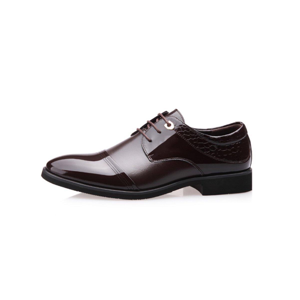 LYZGF Hommes Messieurs Affaires Occasionnel Mode Pointu Dentelle Chaussures En Cuir,Black-38