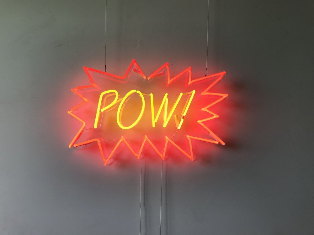 Pow Real Glass Neon Sign For Bedroom Garage Bar Man Cave Room Home Decor Handmade Artwork Visual Art Dimmable Wall Lighting Includes Dimmer Artist Emily Ryder
