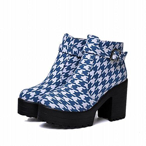 Carol Scarpe Moda Donna Fibbia Piattaforma Pied-de-poule Modello Casual Cerniera Laterale Grosso Tacco Alto Stivaletti Blu