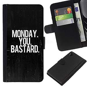 iBinBang / Flip Funda de Cuero Case Cover - Lunes Negro Oscuro Texto Oficina de Trabajo - Sony Xperia Z2 D6502 D6503 D6543 L50t