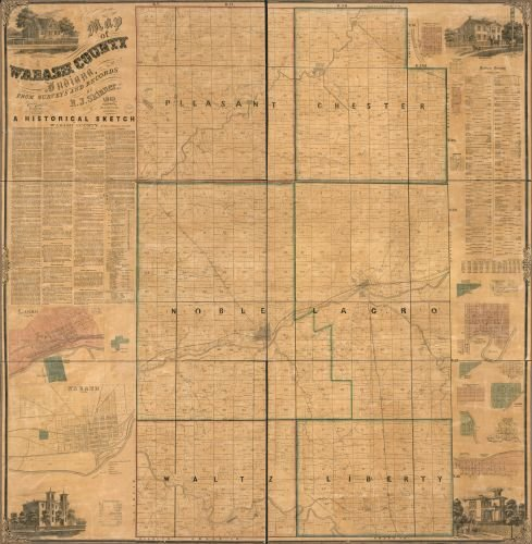 1861 Map of Wabash County, Indiana - Size: 24x24 - Ready to Frame - Indiana | Wabash County | (County Indiana Map)