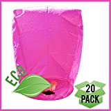 Just Artifacts ECO Wire-Free Flying Chinese Sky Lanterns (Set of 20, Eclipse, Pink) - 100% Biodegradable, Environmentally Friendly Lanterns!