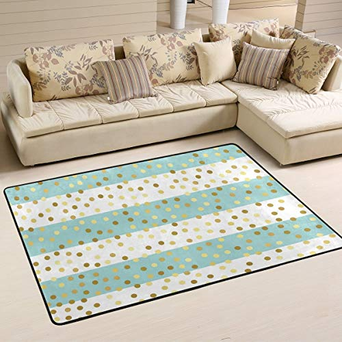 Libaoge Stripe Area Rug for Living Room Bedroom Dining Play Room 96321 Golden Poka Dots Kids Nursery Playing Game Floor Rug Carpet Mat