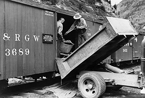Freight Car 1940 Nworkers Loading Gold Ore Concentrate Into A Freight Car Of A Narrow Gauge Railroad Ouray Colorado Photograph By Russell Lee September 1940 Poster Print by (18 x 24)