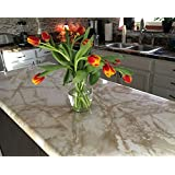 """Peel and Stick Cream White Marble LOOK Countertop Update 36""""x120"""" NOT Contact Paper!!"""