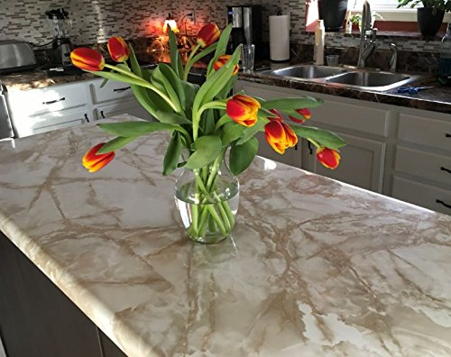 """Peel and Stick Cream White Marble LOOK Countertop Update 36"""""""