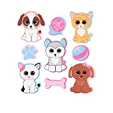 Darice 36 Beanie Boos Foam Animal Pet Themed Peel Off Stickers from Ty~Dogs and Cats~Arts & Crafts~Scrap Booking