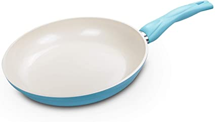 Non Stick Open Fry Pan Safe Ceramic Skillet 100 Pfoa Free Stay Cool Grip Sky Blue 10 Inch Amazon Co Uk Kitchen Home