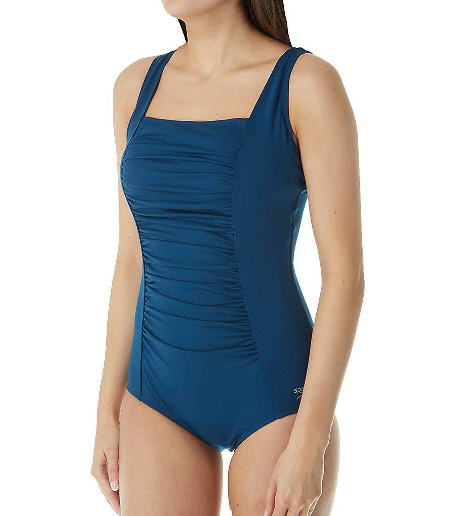 Speedo Women's Endurance+ Shirred Tank Onepiece Swimsuit, Deep Teal, 8