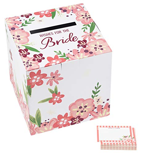 Bride to Be Well Wishes Box and Cards Set - 1 Box with 50 Advice and Wishes Cards, Bachelorette Party Supplies, Bridal Shower Activity Game, Vintage Floral Design, White and Pink, Large 10 x 10 Inches