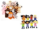 Fun Express 12 Velour Animal Hand Puppets & 8 Happy Kid Hand Puppets Bundle