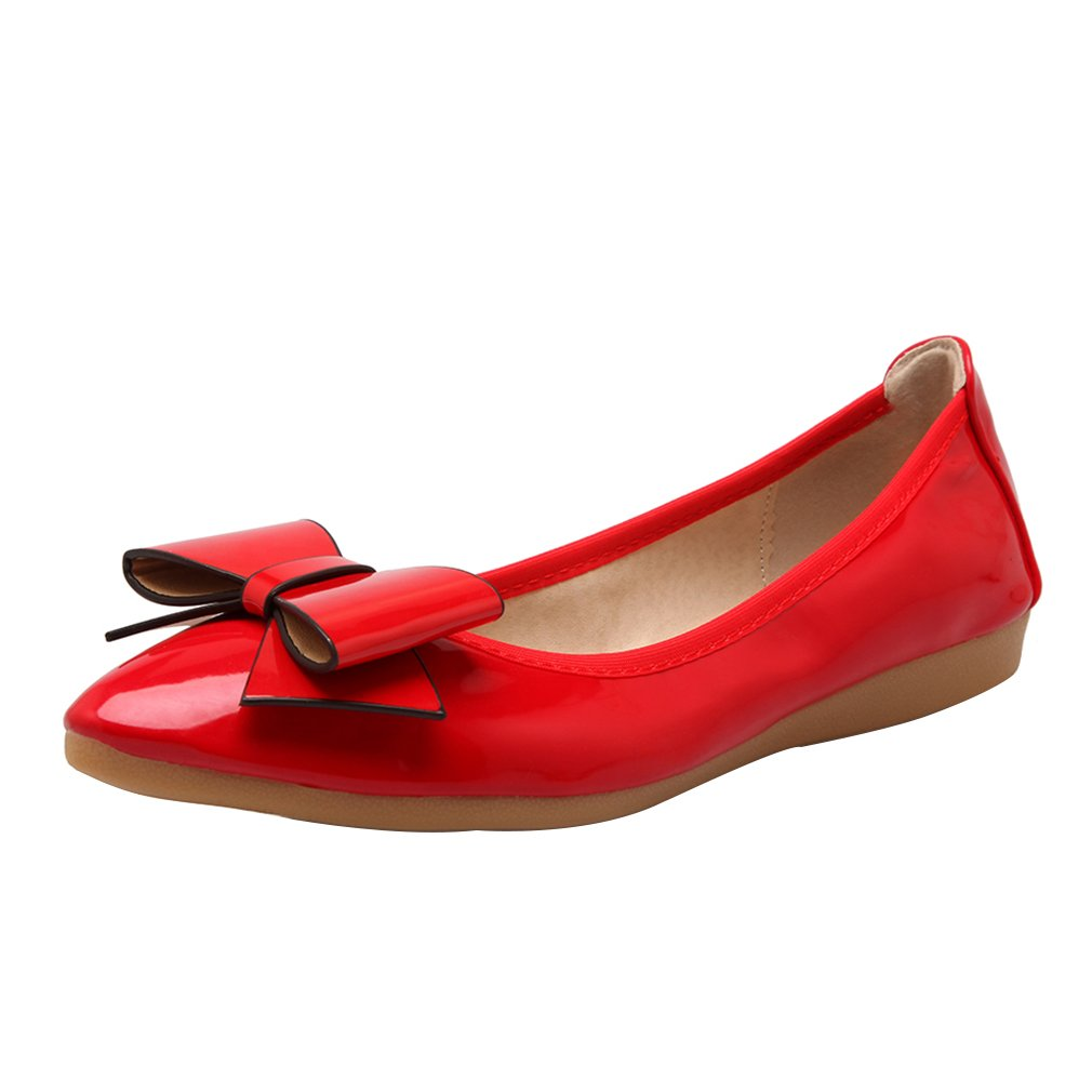 Women Classic Bowknot Pointed Toe Ballet Flats Slip On Shoes Red