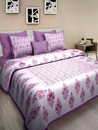JAIPUR PRINTS Rajasthani jaipuri Double Bedsheets 100% Cotton Printed Multi Color (1 double Bed sheet with 2 pillow cover)
