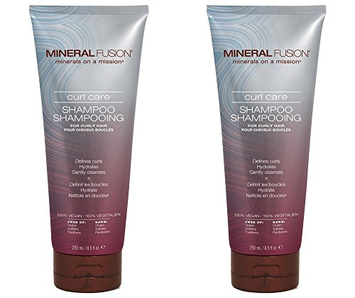 Mineral Fusion Curl Care Shampoo (Pack of 2) with Certified Organic Aloe Vera Leaf Juice, Malachite Extract, Smithsonite Extract, Linseed Oil, Olive Oil, Argan Kernel Oil and Dog Rose Oil, 8.5 fl. oz. (Oil Olive Fusion)