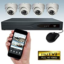 Dripstone 8 CH 1080p TVI DVR Security System with 4x 1080p HD Dome Camera 3.6mm Lens 65FT Night Vision With 1TB Hard Drive IP66 Weatherproof
