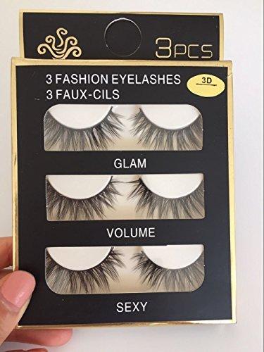 Sunniess Hair Imported Fiber 3D Mink False Eye lashes Handmade Reusable Long Cross Makeup Natural 3D Fake Thick Black EyeLashes 3 Pairs(3D-01)