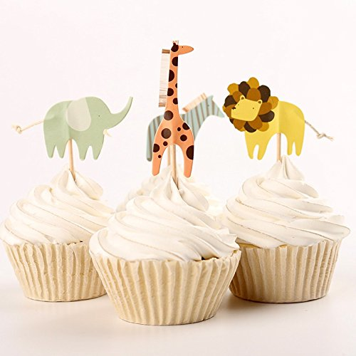 iMagitek 48 Pack Zoo Animal Themed Cake Toppers Zebra Lion Elephant Giraffe Cupcake Picks for Zoo Themed Birthday Party and Baby -