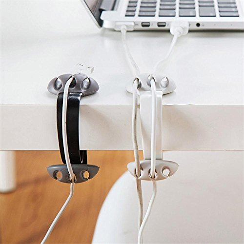 Cable Clips Desktop-2 Packs Multipurpose Wire Holder for Phone Chargers, USB Cables, Black (Black + White) (Gooseneck Vent)