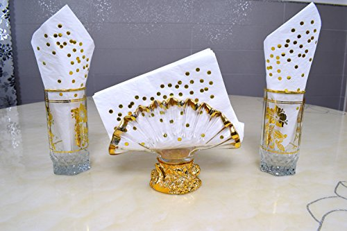 TROLIR Cocktail Napkins, White with Gold Dots, 3-ply, Pack of 50 Disposable Paper Napkins 4.9x4.9 inch Stamped with Sparkly Gold Foil Dots, Ideal for Wedding, Party, Birthday, Dinner, Lunch, Cocktail by TROLIR (Image #8)