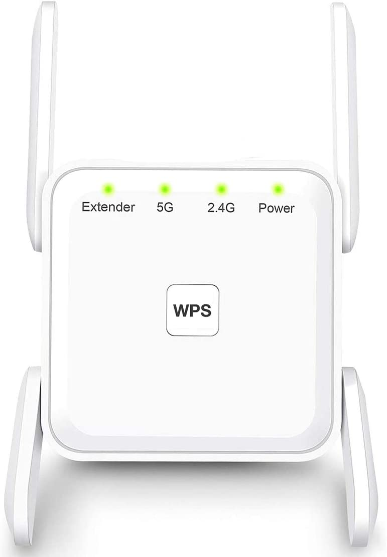 WiFi Range Extender, 1200Mbps Wireless Signal Repeater Booster, Dual Band 2.4G and 5G Expander, Four Antennas 360 Degree Full Coverage, Extend WiFi Signal to Smart Home & Alexa Devices (White)