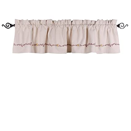 Home Collections by Raghu 72x15.5 Homespun Berry Grain Sack Cream Valance