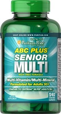 Puritan's Pride ABC Plus Senior Multivitamin Multi-Mineral Formula-240 Caplets