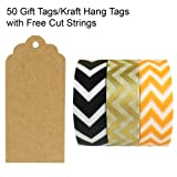 Wrapables 50 Scalloped Gift Tags/Kraft Hang Tags with Free Cut Strings & Set of 3 Washi Tape for Gifts, Crafts & Price Tags - Impressions