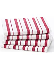 Cotton Craft   4 Pack Dish Cloths, 15x15   Red, Pure 100% Cotton, Crisp  Basket Weave Striped Pattern, Convenient Hanging Loop   Highly Absorbent,  ...