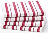 Cotton Craft - 4 Pack Dish Cloths, 15x15 - Red, Pure 100% Cotton, Crisp Basket weave striped pattern, Convenient hanging loop - Highly absorbent, Professional Grade, Soft yet Sturdy