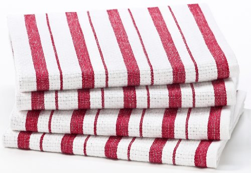 Cotton Craft - 4 Pack Oversized Kitchen Towels, 20x30 - Red, Pure 100% Cotton, Crisp Basket weave striped pattern, Convenient hanging loop - Highly absorbent, Professional Grade, Soft yet (Christmas Dish)
