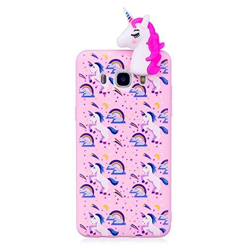 Funda para Samsung J7 2016, CaseLover 3D Panda Suave TPU Silicona Carcasa para Samsung Galaxy J7 2016 J710 Ultra Delgado Flexible Protectora Caso Mate Opaco Gel Goma Parachoques Tapa Anti Choque Trase Rosa Roja