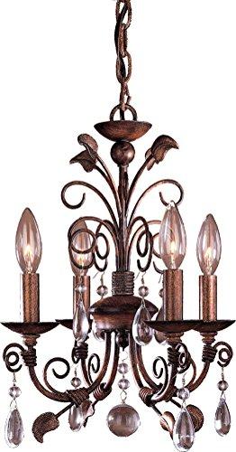 Mini Four Light Chandelier Bronze (Minka Lavery Crystal Chandelier Lighting 3127-126, Mini Candle, 4 Light, 160 Watts, Walnut)
