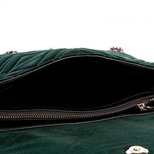 Patrizia Pepe 2V7379 A2WC borsa a tracolla in velluto trapuntato con applicazioni (Velvet forest)