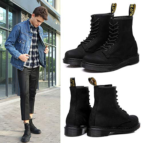 De Hombres Botas Black Alta Impactos Deportivos British Moda Martin Cuero Antideslizantes Qikai Zapatos Absorción Para Militares Calidad Combate XxwBvWqFp