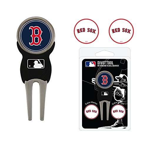 Team Golf MLB Boston Red Sox Divot Tool with 3 Golf Ball Markers Pack, Markers are Removable Magnetic Double-Sided Enamel