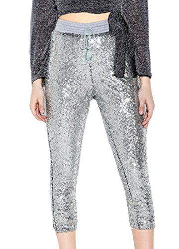 ANDYOU-Women Metallic Shimmer Tie Waist Athletic Fit Leggings Pants As Picture S (Athletic Metallic Tie)