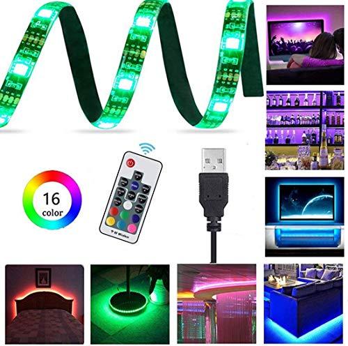 Lemonbest 2m 6.5ft 60leds Resin Flexible Color Changing USB LED Strip Lights RGB 5050smd 5V Waterproof with 17-Key RF Remote Controller