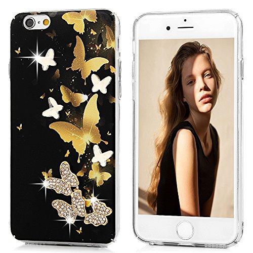 Mavis's Diary Coque iPhone 6/iPhone 6S PC Rigide Bling Strass Papillon Dessin Housse de Protection Étui Téléphone Portable Phone Case Cover+Chiffon