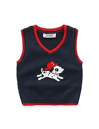 Toddler Kids Baby Unisex V- Neck Cute Dog Print Knitted Vest Sweater Pullover