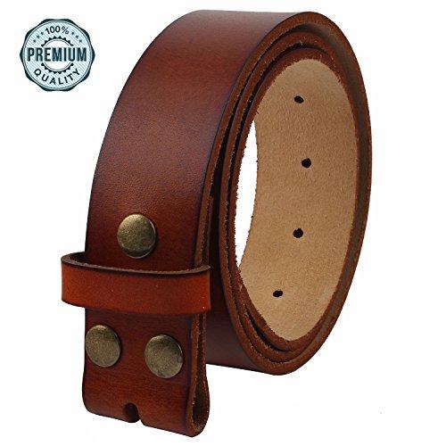 Soft Leather Buckle Belt (NPET Men's Genuine Leather Belt Classic Full-Grain Belt without Belt Buckle 1.5
