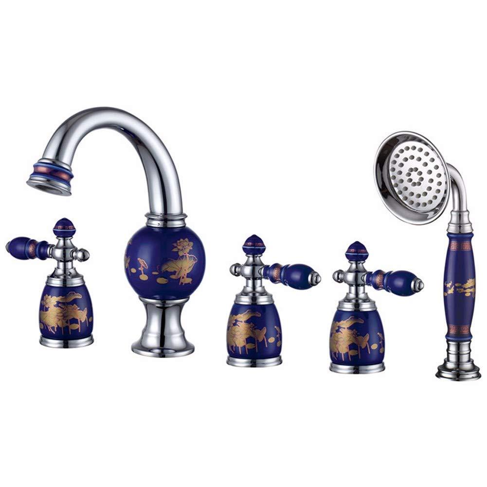 Chongxlgy-1 Grifo europeo antiguo de tres orificios para grifo de bañera, porcelana azul de cinco orificios cromados: Amazon.es: Bricolaje y herramientas