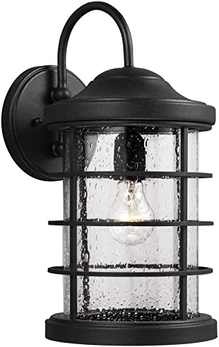 Seagull 8624401-12 One 8624401-12-One Light Outdoor Wall, Black Finish