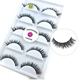 3D Real Mink False Eyelashes LASGOOS 100% Siberian Mink Fur Cruelty-free Luxurious Natural Short Cross Winged Fake Eye Lashes Makeup 5 Pairs/Box L011-5