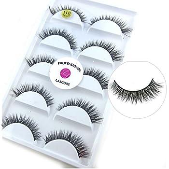 edd5d282029 3D Real Mink False Eyelashes LASGOOS 100% Siberian Mink Fur Cruelty-free  Luxurious Natural Short Cross Winged Fake Eye Lashes Makeup 5 Pairs/Box  L011-5