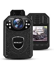 BOBLOV Mini-camera voor politie, HD 1296P politielichaam gedragen videocamera, draagbare politiecamera met audio-opname, 140° groothoek KJ21 camera (kaart niet inbegrepen)
