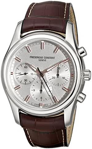 Frederique Constant Peking To Paris Stainless Steel Mens Swiss Watch with Second Hand - Silver Dial Luminous Analog Chronograph Watch - Brown Leather Strap Frederique Constant Automatic Watch FC-396V6B6