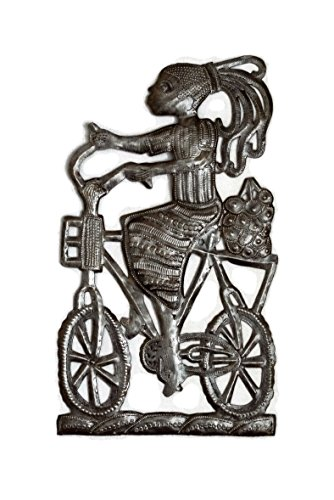 it's cactus - metal art haiti Girl in a Bicycle, Riding Bike Haitian Metal Art from Recycled Oil Drums, Fair Trade 9