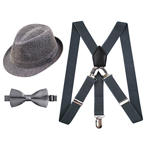 Alizeal 1920s Suspender and Bow Tie Set with Hat for Kids(Gray)